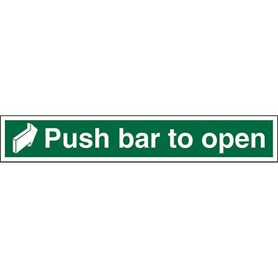 Exit Sign Push Bar To Open with Right Arrow Plastic 7.5 x 45 cm