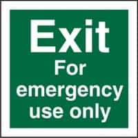 Fire Exit Sign Exit For Emergency Use Only Plastic 15 x 15 cm