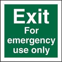 Fire Exit Sign Exit For Emergency Use Only Plastic 20 x 20 cm