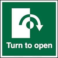 Exit Sign Turn To Open with Clockwise Arrow Vinyl 10 x 10 cm