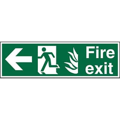 Fire Exit Sign with Left Arrow Plastic 15 x 45 cm