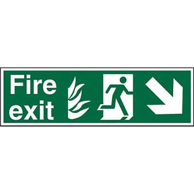Fire Exit Sign Down Right Arrow Vinyl 20 x 60 cm