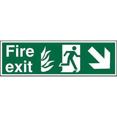 Fire Exit Sign with Down Right Arrow Plastic 15 x 45 cm
