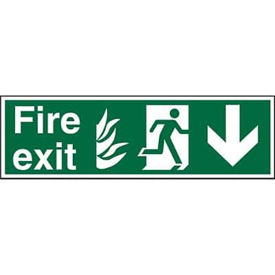Fire Exit Sign with Down Arrow Vinyl 20 x 60 cm