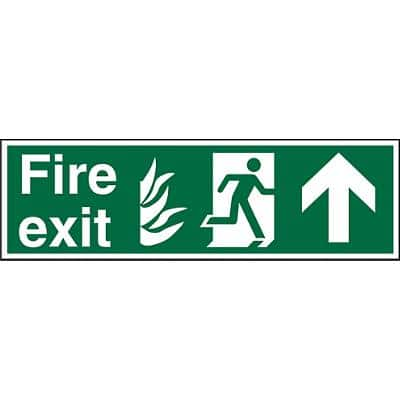 Fire Exit Sign with Up Arrow Self Adhesive Vinyl 20 x 60 cm