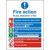 Fire Action Sign If You Discover Fire Self Adhesive Vinyl 30 x 20 cm