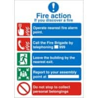 Fire Sign Fire Action Plastic 20 x 15 cm