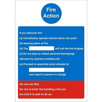 Fire Action Sign Self Adhesive Vinyl Assorted 20 x 15 cm
