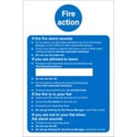 Fire Action Sign for Care Homes Plastic 20 x 15 cm