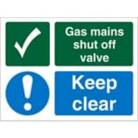 Mandatory Sign Gas Mains Shut Off Vinyl 15 x 20 cm