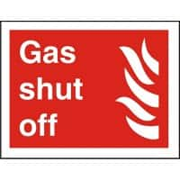 Fire Sign Gas Shut Off Vinyl 15 x 20 cm