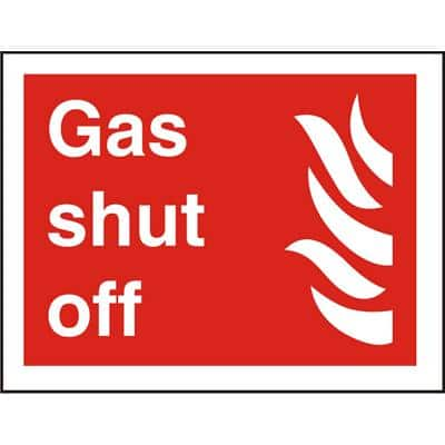 Fire Sign Gas Shut Off Self Adhesive Vinyl 15 x 20 cm