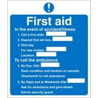 First Aid Sign First Aid Vinyl 23 x 19.5 cm