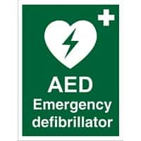 First Aid Sign AED Emergency Defibrillator Vinyl 30 x 20 cm