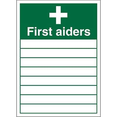 First Aid Sign First Aider Plastic 35.5 x 25.5 cm