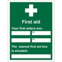 First Aid Sign First Aider Name and Location Vinyl 30 x 20 cm