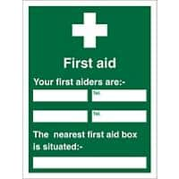 First Aid Sign First Aider Name and Location Plastic 30 x 20 cm