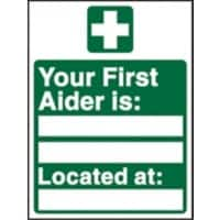 First Aid Sign First Aider Name and Location Self Adhesive Vinyl 30 x 20 cm