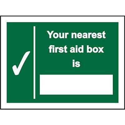 First Aid Sign Nearest First Aid Plastic 30 x 20 cm