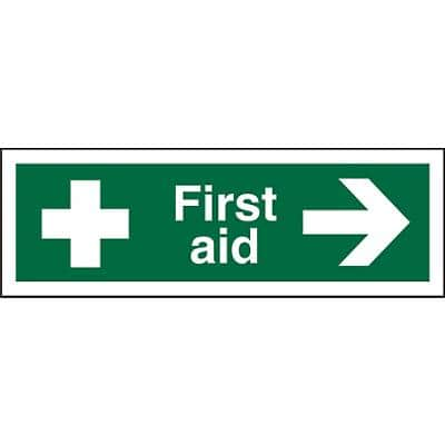 First Aid Sign First Aid with Right Arrow Vinyl 15 x 45 cm