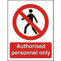 Prohibition Sign Authorised Only Plastic 30 x 20 cm