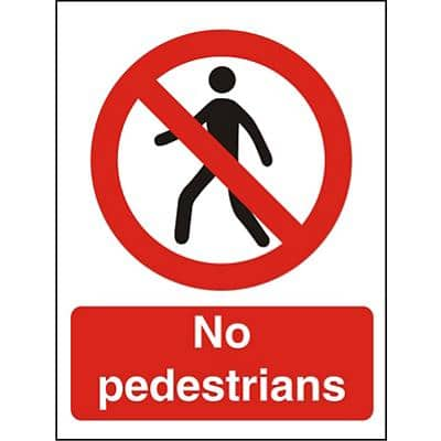 Prohibition Sign No Pedestrians Plastic 20 x 15 cm