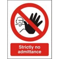 Prohibition Sign No Admittance Plastic 30 x 20 cm