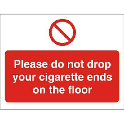 Prohibition Sign Cigarette Ends Vinyl 30 x 40 cm