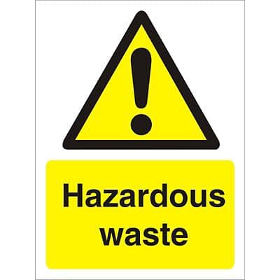 Warning Sign Hazardous Waste Vinyl 20 x 15 cm
