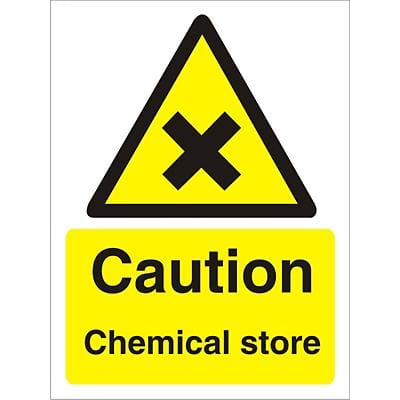 Warning Sign Chemical Store Vinyl 30 x 20 cm