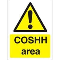 Warning Sign Coshh Area Vinyl 30 x 20 cm