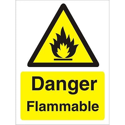 Warning Sign Flammable Plastic 40 x 30 cm