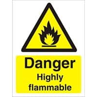 Warning Sign Highly Flammable Self Adhesive Plastic 20 x 15 cm