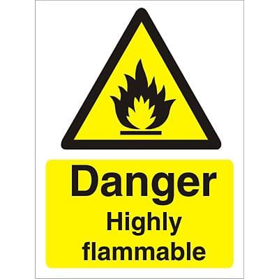 Warning Sign Highly Flammable Plastic 40 x 30 cm