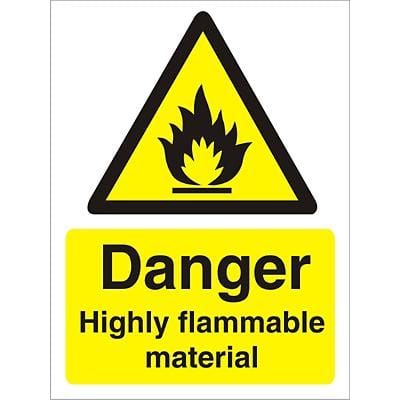 Warning Sign Highly Flammable Vinyl 40 x 30 cm