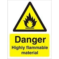Warning Sign Highly Flammable Self Adhesive Plastic 40 x 30 cm