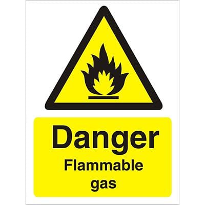 Warning Sign Flammable Gas Vinyl 20 x 15 cm
