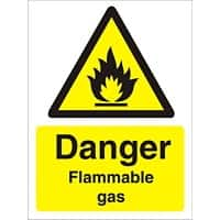 Warning Sign Flammable Gas Vinyl 30 x 20 cm
