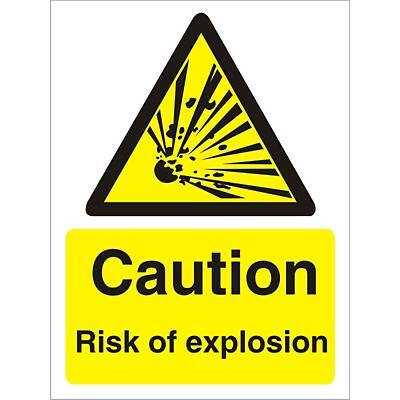 Warning Sign Risk of Explosion Self Adhesive Plastic 20 x 15 cm