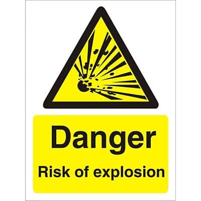 Warning Sign Risk of Explosion Self Adhesive Plastic 30 x 20 cm
