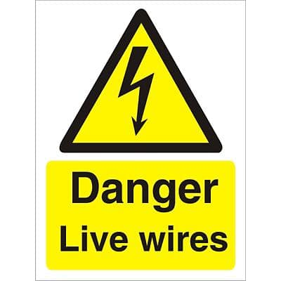 Warning Sign Live Wires Vinyl 40 x 30 cm