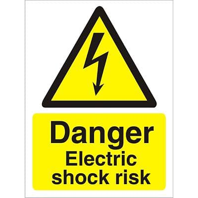 Warning Sign Electric Shock Risk Self Adhesive Vinyl 30 x 20 cm