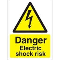 Warning Sign Electric Shock Risk Self Adhesive Plastic 40 x 30 cm
