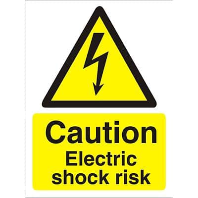 Warning Sign Electric Shock Risk Self Adhesive Vinyl 40 x 30 cm