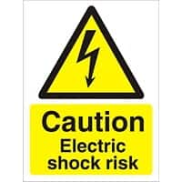 Warning Sign Electric Shock Risk Self Adhesive Plastic 20 x 15 cm