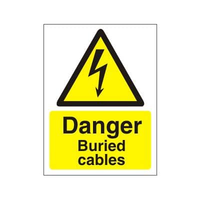 Warning Sign Buried Cables Plastic 20 x 15 cm