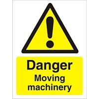 Warning Sign Moving Machinery Vinyl 30 x 20 cm
