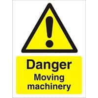 Warning Sign Moving Machinery Plastic 30 x 20 cm