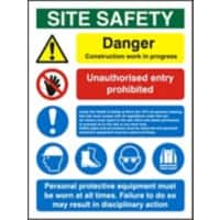 Site Sign Construction Site Safety PVC Assorted 80 x 60 cm