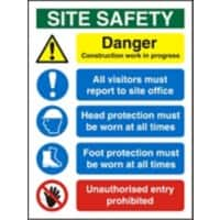 Construction Site Sign Site Safety Fluted Board 60 x 45 cm